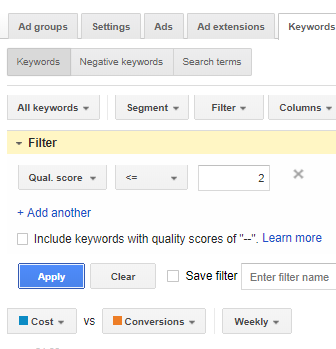 Filtering Out Keywords with Low Quality Scores